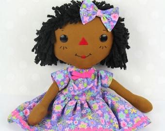 Black Doll - Raggedy Ann Doll - Personalized Rag Doll - Soft Baby Doll - Cinnamon Annie Doll - Girls Room Decor Purple