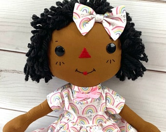 Raggedy Ann Doll - Cute Black Doll - Personalized Rag Doll - Cinnamon Annie Doll - Girls Room Decor- Gift for Girls