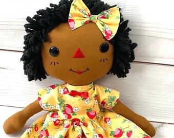 Raggedy Ann Doll - Black Doll - Personalized Baby Doll - Cinnamon Annie Doll - Girls Room Decor