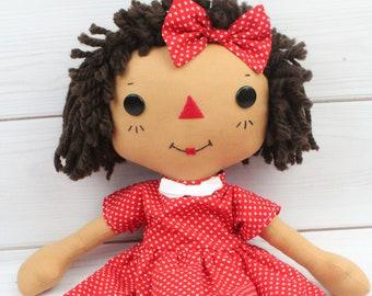Personalized Raggedy Ann Doll - African American Baby Doll - Cinnamon Annie Doll - Birthday Gift for Girls - Girls Room Decor