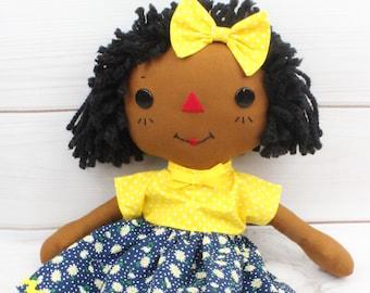 Black Rag Doll - Raggedy Ann Doll - Personalized Baby Doll  - Gift for Girls - Cinnamon Annie Doll - Girls Room Decor