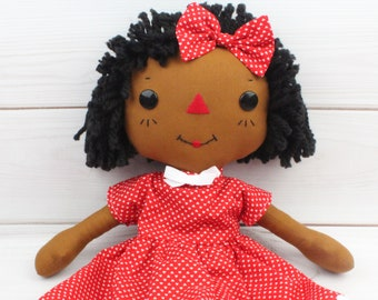 Black Raggedy Ann Doll - Personalized Gift for Girls- Girls Room Decor