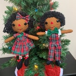 Christmas Ornament Set - African American Holiday Decor - Raggedy Ann and Andy - Christmas Gift for Mom - Stocking Stuffer