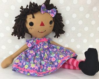 Raggedy Ann Doll - Black Rag Doll - Cinnamon Annie Doll - Personalized Gift for Girls