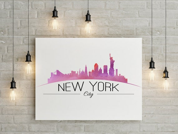 New York City Watercolor art New York City Skyline Wall Art | Etsy