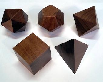 Platonic Solids in Polished Hardwood