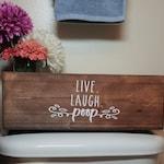 Rustic Wooden Storage Box   Live Laugh Poop   Mason Jar Centerpiece   Bathroom Decor   Toilet Paper Holder   Farmhouse Decor  