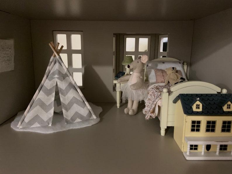 Chevron pillows Gray and White Chevron 5.5 inch Doll House Teepee