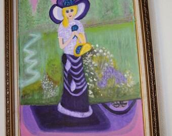 """Original Framed Acrylic On Canvas Painting, 16 x 20, """"Fair Lady"""""""