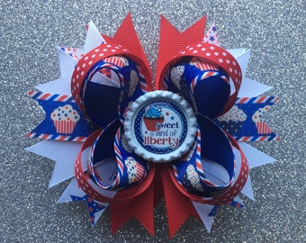 4th of July Cupcakes Hair Bow