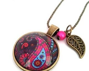 Bohemian Paisley • Paisley necklace bronze cabochon •