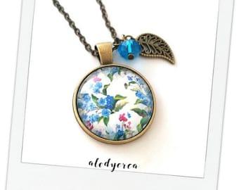Blue • flowers • glass cabochon necklace bronze