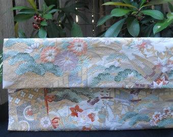 Japanese Vintage Silk Fukuro Obi Clutch Purse