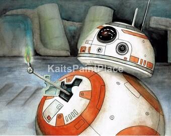 BB-8 Thumbs Up Watercolor Print