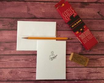 UKULELE - Five Letterpress A2 folded cards and envelopes -  Crane's LETTRA