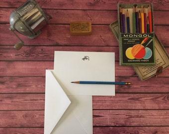 KNITTING - 30 Custom Letterpress A7 Flat-Panel Correspondence Cards & Envelopes - Crane's LETTRA