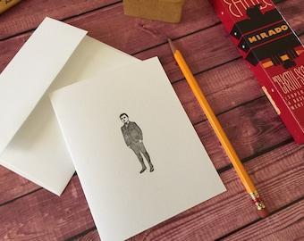 DAPPER GENT - Five Letterpress A2 folded cards and envelopes -  Crane's LETTRA