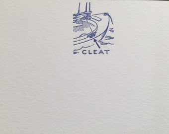 """Sailors and Boaters: 30 Letterpress A7 (5x7"""") Flat-Panel Cards and Envelopes - CLEAT & MARLINESPIKE -  Crane's LETTRA"""