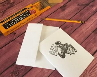 NEWSBOY - Five Letterpress A2 folded cards and envelopes -  Crane's LETTRA