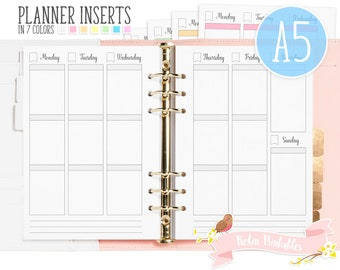 A5 Weekly Planner Printable Binder Inserts. Fits Organizers Like KikkiK or Filofax. Weekly Schedule, Vertical Boxes, Erin Condren Inserts