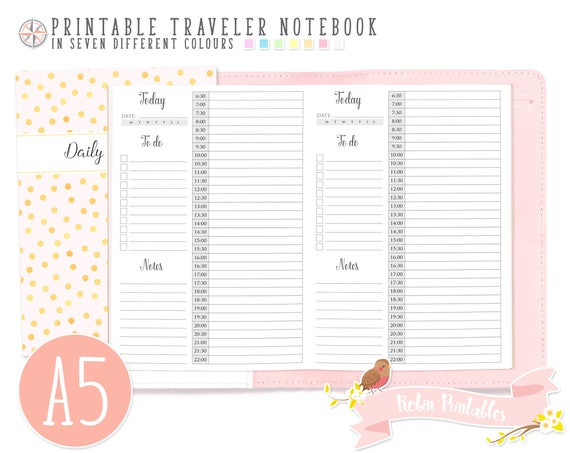 A5 Daily Schedule By Hour Traveler Notebook Refill Printable Etsy