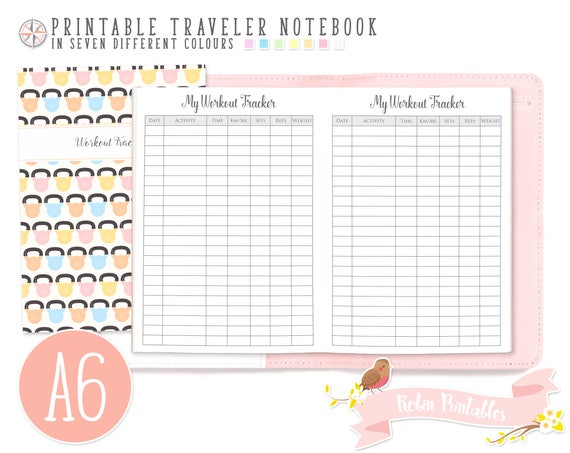a6 workout tracker traveler notebook refill 4 x 6 printable etsy