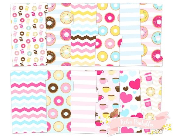 picture relating to Printable Divider Tabs referred to as Donut and Espresso Printable Planner Divider Tabs / doughnut