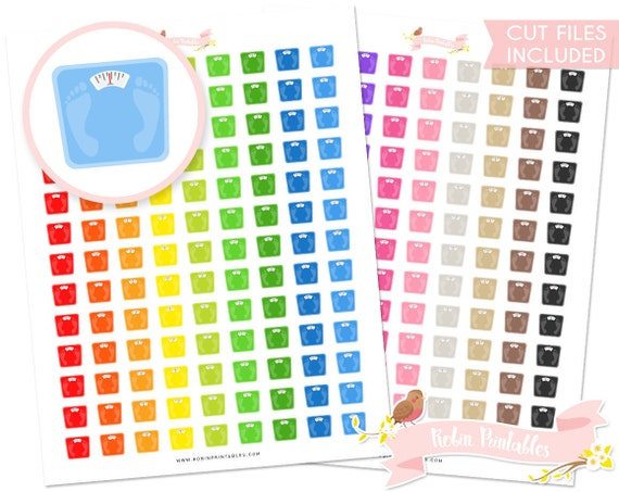 Weighing Scale Printable Planner Stickers, Erin Condren, Weight day sticker  with cut files  Personal Use Instant Download DIY Sticker PDF