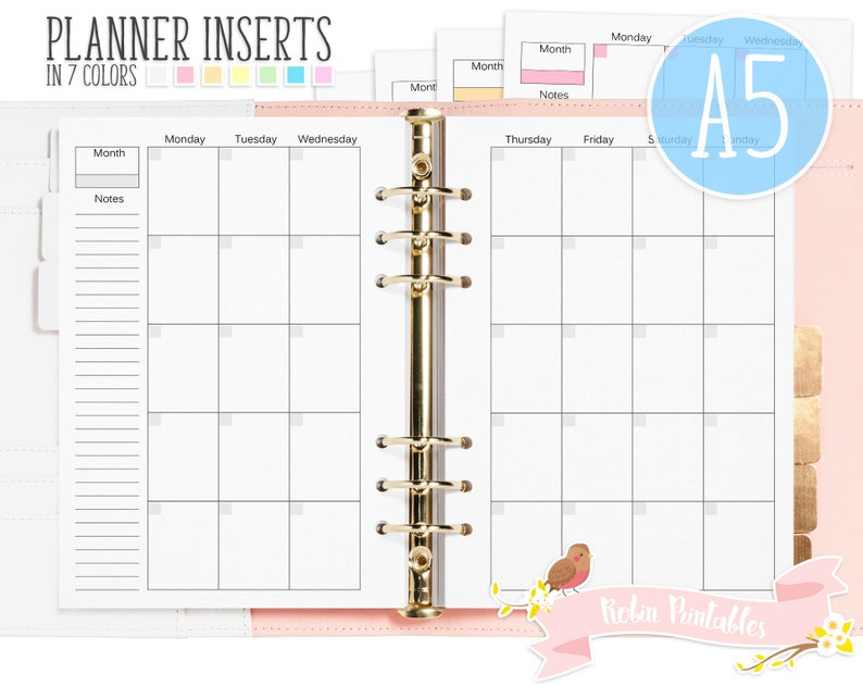 graphic about Monthly Organizer identify A5 Month to month Organizer Printable Binder Inserts. Suits Organizers Including KikkiK or Filofax. Weekly Agenda, Calender, Regular Planner Inserts