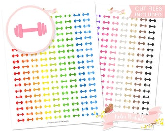 Dumbbell Printable Planner Stickers, Erin Condren, exercise, workout, gym, fitness, weight lifting. Personal Use Download DIY Sticker PDF