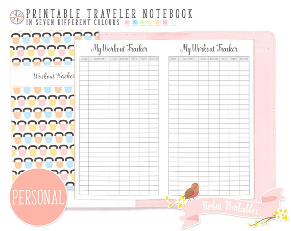 personal workout tracker traveler notebook refill printable etsy