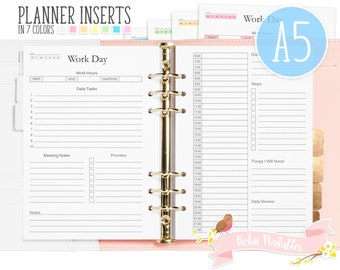 A5 Work Day Printable Binder Inserts. Fits Planners Like KikkiK or Filofax. Work Schedule, Priorities, Daily Tasks, Work Goal Inserts