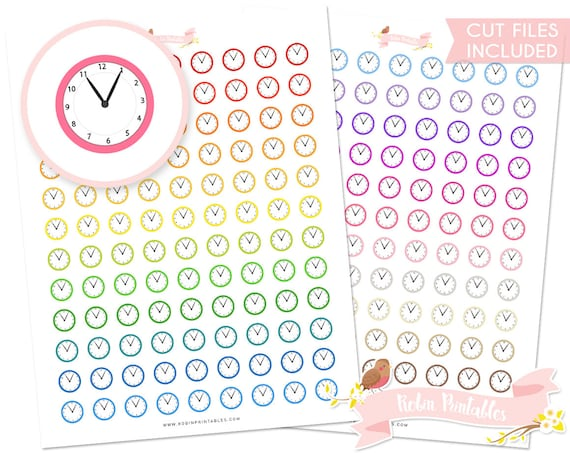 Clock Printable Planner Stickers With Silhouette Cut Files Etsy