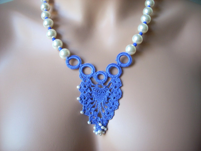 crochet necklace Free shipping hand made gift ideas gift under 30 Wedding pearl blue necklace Valentines day gift wedding accessories