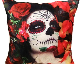 La Calavera Catrina - Decorative Throw Pillow - Day of the Dead Style - Día de Muertos
