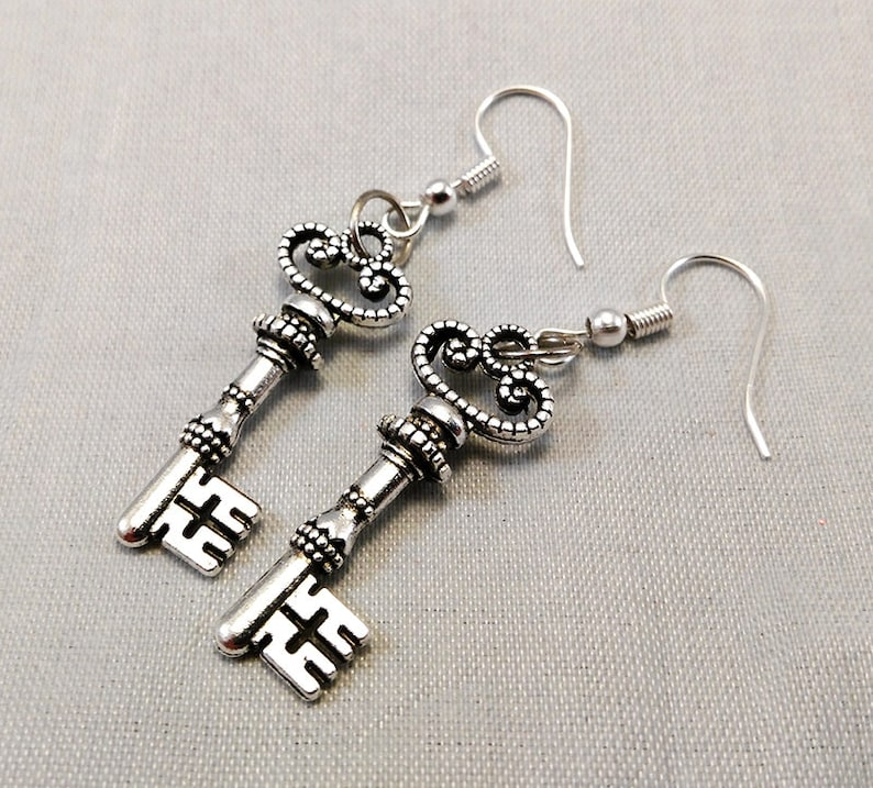 Skeleton Key Earrings  Gothic Jewelry Steampunk Fashion image 0