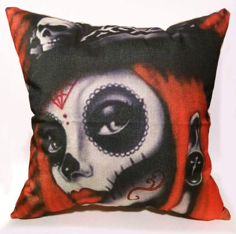 Day Of The Dead Girl Pillow  Día de Muertos  Día de los image 0