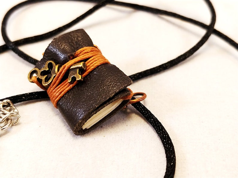 Mini Book Journal Charm Necklace image 0