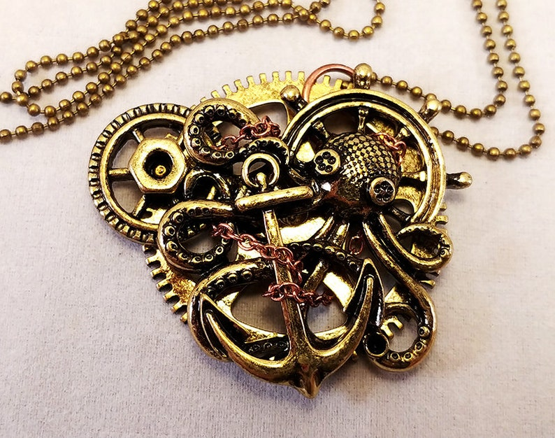Steampunk Charm Necklace  Gears Anchor Octopus image 0