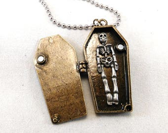 Coffin Necklace w/ Ball Chain - Gothic Jewelry