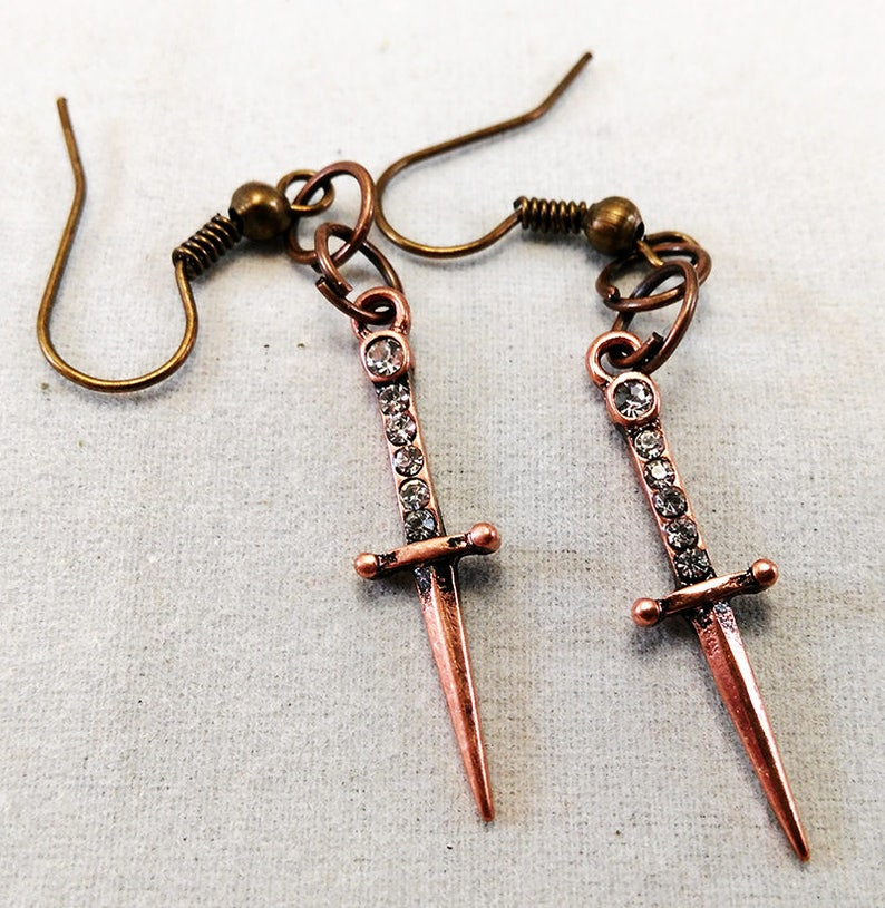 Dagger Earrings Copper  Goth Jewelry Wicca Athame image 0