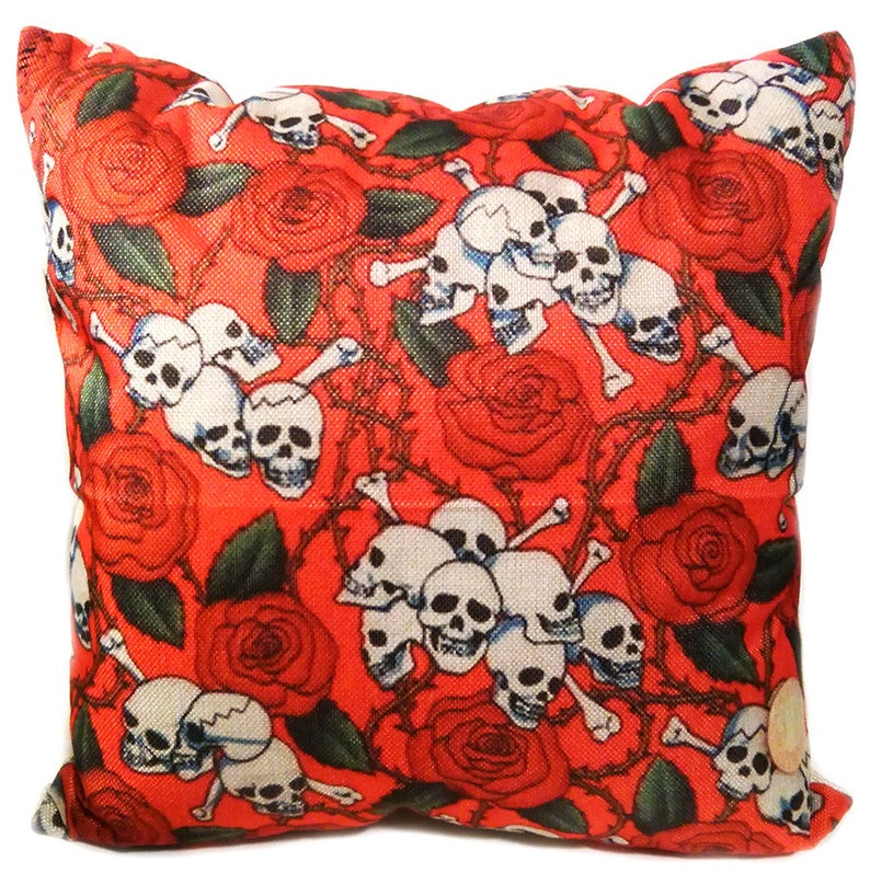 Red Rose Skull Decorative Throw Pillow image 0