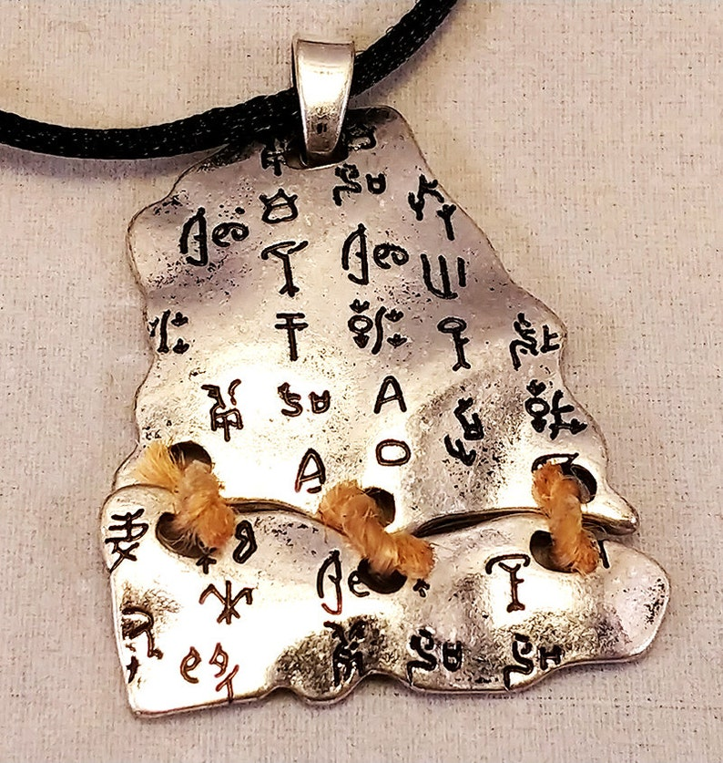 Egyptian Charm Necklace Hieroglyphics Papyrus Pendant image 0