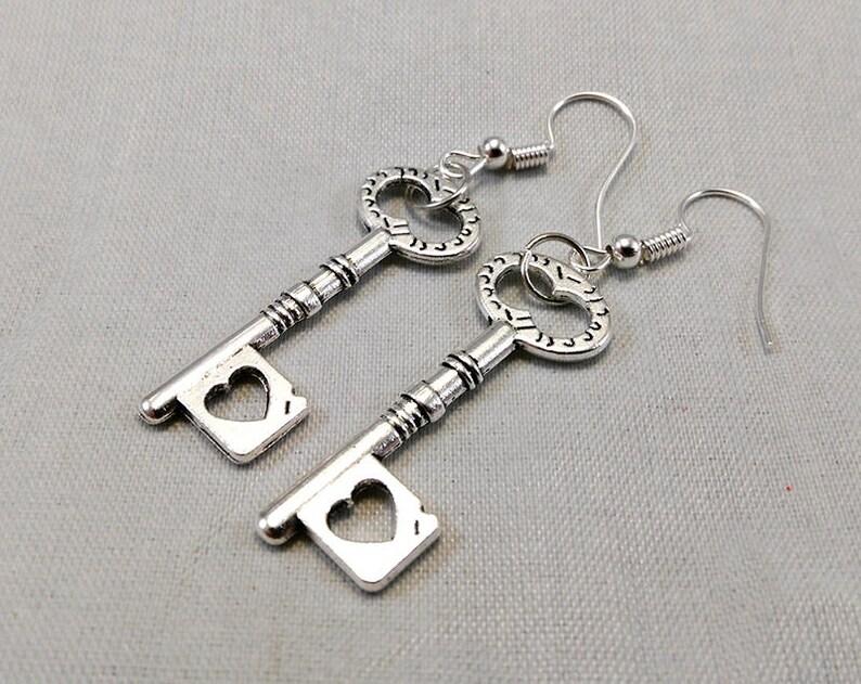 Skeleton Heart Key Earrings  Gothic Jewelry Steampunk Fashion image 0