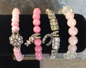 Pretty in pink layered beaded bracelets