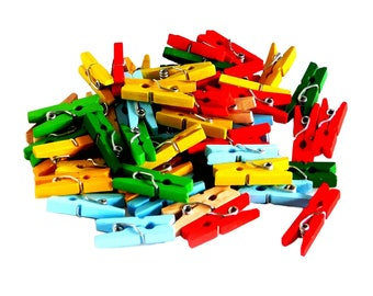 Mini Clothes Pegs, Assorted Coloured Wood 50 pieces