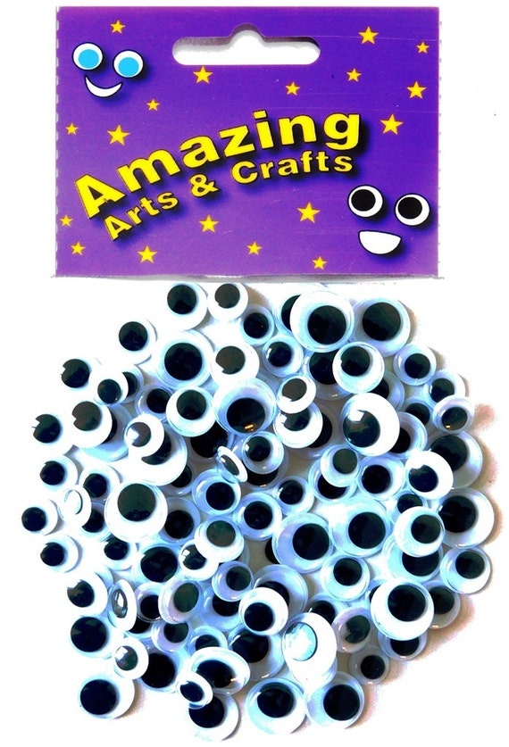 10 12 15 MM 100 SELF ADHESIVE STICKY WIGGLY WIGGLE EYES GOOGLE CRAFT SIZES 8