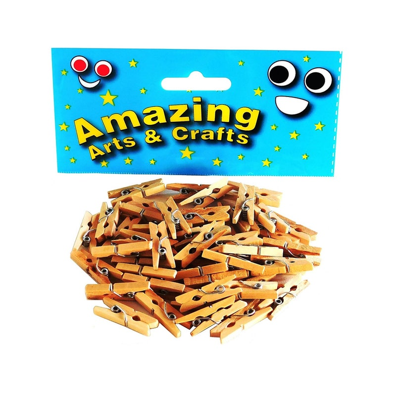 75 x  NATURAL SMALL WOODEN CRAFT MINI PEGS CARD MAKING KIDS CRAFT PHOTO CLIPS