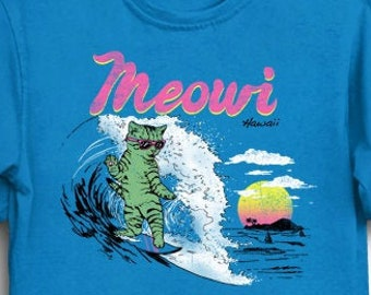 f1e2807fe Meowi T-Shirt - Funny Cute Tee Shirt Gift for Summer Surfer Vacation 80s  Retro Vintage Cat Kitten Beach Hawaii Maui