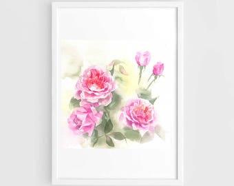 "Original flower watercolor,blooming roses,original painting,7""x7"",garden,home decor"